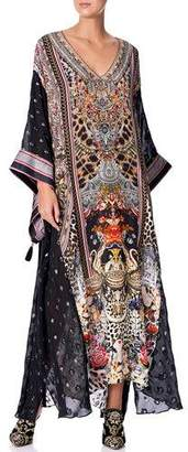 Camilla Printed Coverup Kaftan with Sheer Sleeves