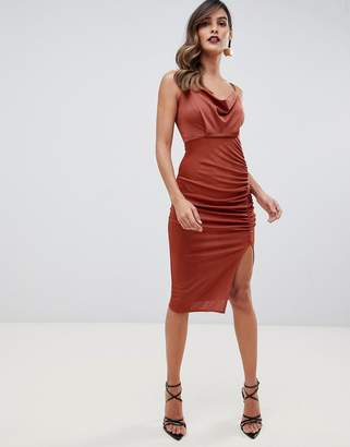 Asos Design DESIGN slinky ruched cowl midi dress c7029cfbd