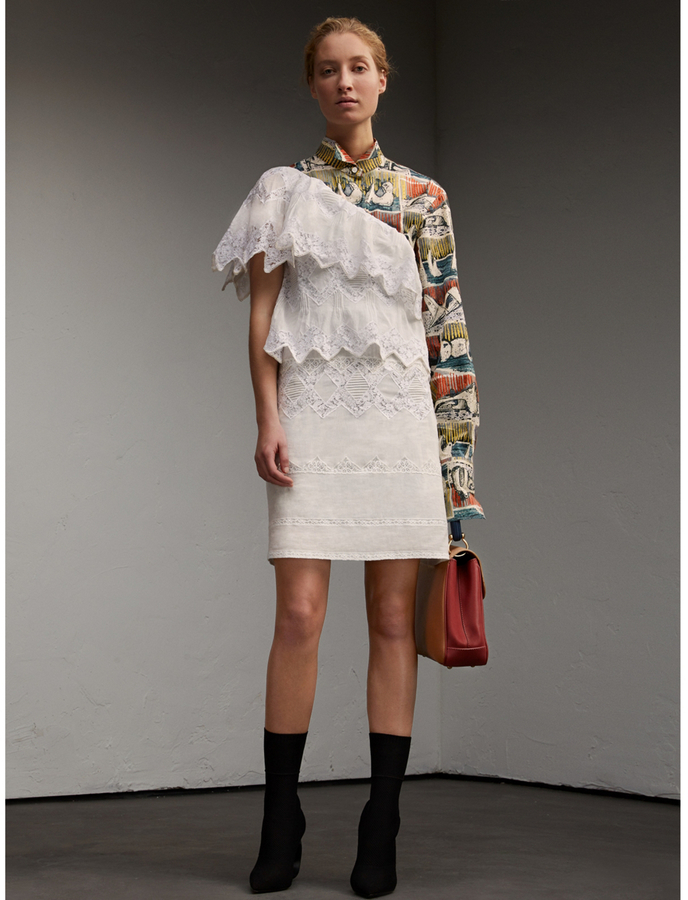 Burberry One-shoulder Cotton Voile and Lace Dress