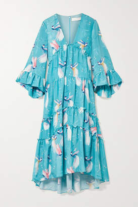 Borgo De Nor - Iris Ruffle-trimmed Printed Crepe De Chine Maxi Dress - Sky blue