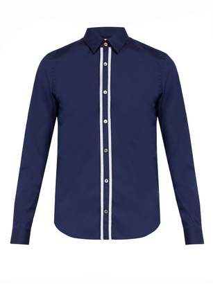 Paul Smith Pinstripe Placket Cotton Blend Shirt - Mens - Navy