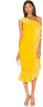 Mestiza New York Flamenco One Shoulder Ruffle Midi Dress