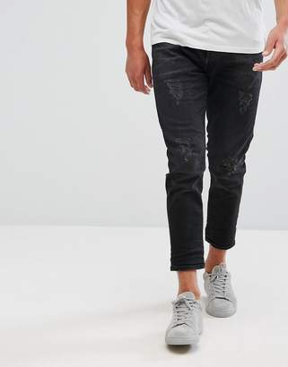 Selected Homme+ Jeans In Tapered Fit With Cropped Leg And Distressing