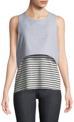 Neiman Marcus Mixed-Media Layered Sleeveless Striped Tee