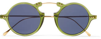 Illesteva Roma Ii Round-frame Gold-tone And Acetate Sunglasses - Green