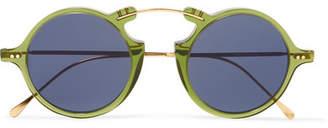 Illesteva Roma Ii Round-frame Gold-tone And Acetate Sunglasses - Green