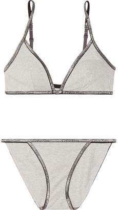 Calvin Klein Underwear Id Metallic Stretch Cotton-blend Jersey Bra And Brief Set - Gray