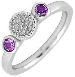Simply Stacks Sterling Double Round Amethyst Di amond Ring