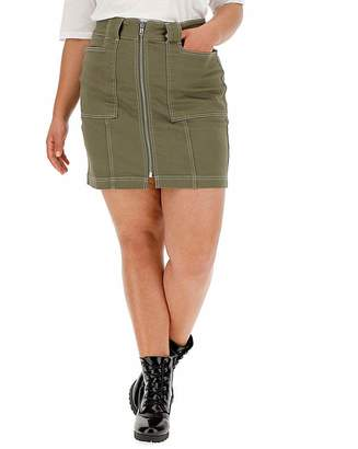 Liverpool Khaki Utility Denim Skirt