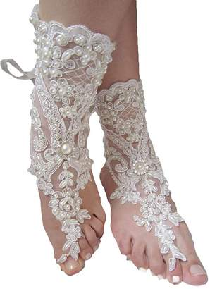 Fenghuavip Women's Wedding Barefoot Sandals with Pearls Lace Beach Shoes