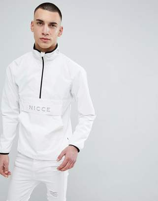 Nicce London overhead jacket in white reflective