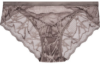 Calvin Klein Underwear - Infuse Stretch-lace And Tulle Briefs - Gray $45 thestylecure.com