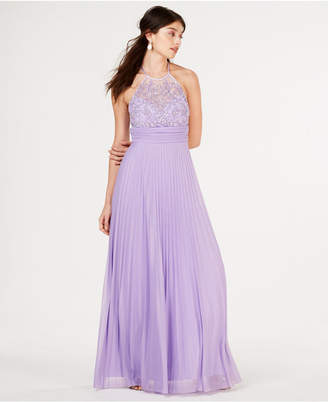 B. Darlin Juniors' Beaded-Top Pleat-Skirt Gown, Created for Macy's