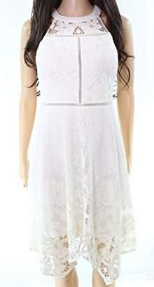 GUESS Women's Lace Halter Dress with Handkerchief Hem