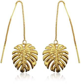 c5380196c Eliza J Bautista - Tropical Leaf Dangling Earrings In 18K Gold Vermeil On Sterling  Silver