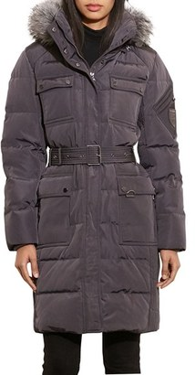 Women's Lauren Ralph Lauren Faux Fur Trim Hooded Down & Feather Fill Utility Coat $320 thestylecure.com