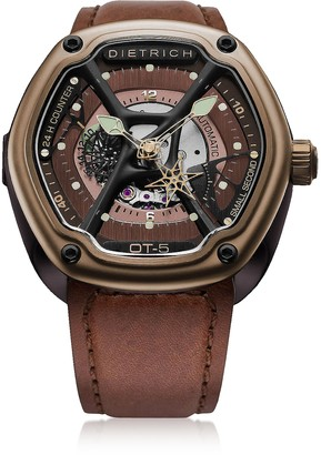 Dietrich OT-5 316L Bronze Steel Men's Watch w/Luminova and Brown Leather Strap