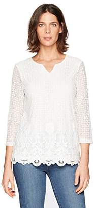 Alfred Dunner Women's Solid Lace T-Shirt