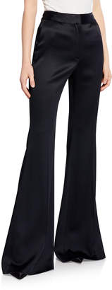 ADAM by Adam Lippes Hammered Satin High-Waist Flare Pants