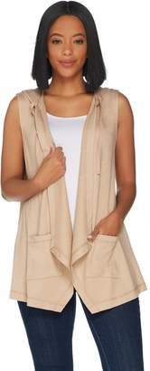 Logo By Lori Goldstein LOGO Lounge by Lori Goldstein French Terry Open Front Hooded Vest