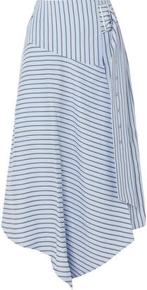 Tibi Wrap-effect Striped Poplin Midi Skirt - Blue
