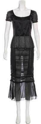 Miu Miu Mesh-Paneled Maxi Dress w/ Tags