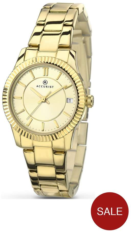 Accurist Champagne Dial Gold Tone Bracelet Ladies Watch