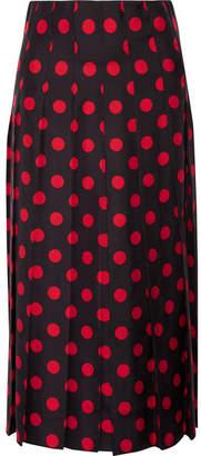 Gucci Pleated Polka-dot Silk-satin Twill Midi Skirt
