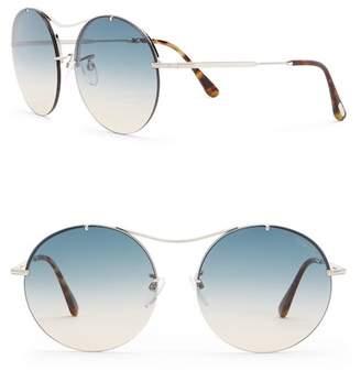 Tom Ford Veronique 58mm Round Browbar Sunglasses