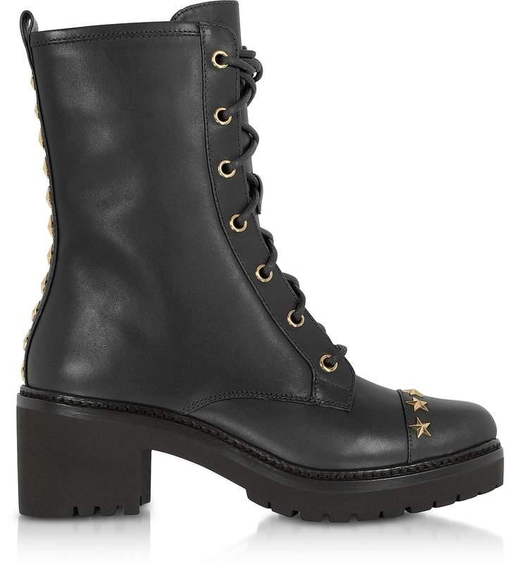 Michael Kors Cody Black Leather Mid-Heel Boots w/Star Studs