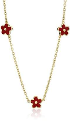 Little Miss Twin Stars Girls' Frosted Flowers 14k Gold-Plated Three Flowers Enamel Pendant Necklace