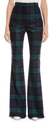 Michael Kors High-Waist Flared Tartan Wool Pants