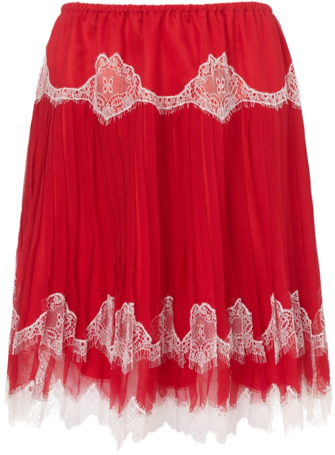 Meadham Kirchhoff Red Silk Lace Stella Skirt