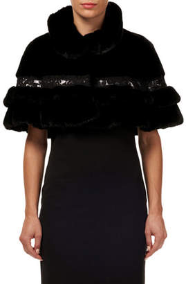 Gorski Mink Fur Ruffled Capelet w/ Leather and Lace Trim