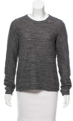 Billy Reid Suede-Trimmed Crew Neck Sweater