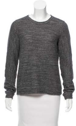 Billy Reid Suede-Trimmed Crew Neck Sweater
