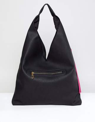 Yoki Fashion Slouchy Shoulder Bag in Black with Tassel