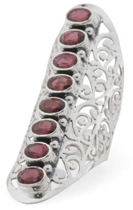 Made In India Sterling Silver Garnet Knuckle Ring