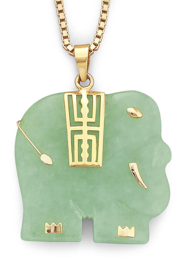 JCPenney FINE JEWELRY Genuine Jade Elephant Pendant Necklace 14K/Sterling Silver