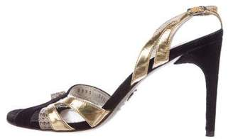 Dolce & Gabbana Suede and Leather Cutout Sandals