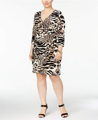 INC International Concepts I.n.c. Plus Size Animal-Print Wrap Dress