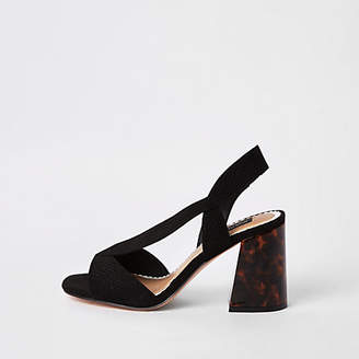 River Island Black wide fit cross strap block heel sandal