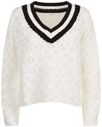 Claudie Pierlot V-Neck Crochet Sweater