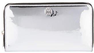 Tory Burch Robinson Mirror Metallic Zip Wallet