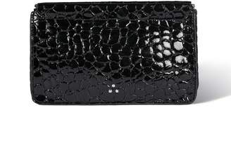 Jerome Dreyfuss Clic Clac Large Clutch in Croco Vernis Noir