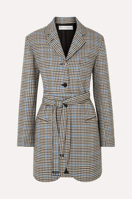 J.W.Anderson Belted Houndstooth Wool And Cotton-blend Blazer - Brown