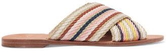 Diane von Furstenberg Cindi Metallic Striped Canvas Slides - Gold