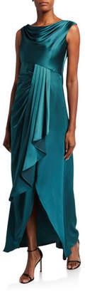Aidan Mattox Cowl-Neck Sleeveless High-Low Draped Flounce Satin Gown