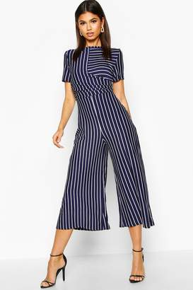 boohoo Striped Wrap Culotte Jumpsuit