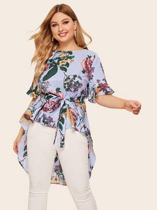 Shein Plus High Low Floral & Striped Top With Belt
